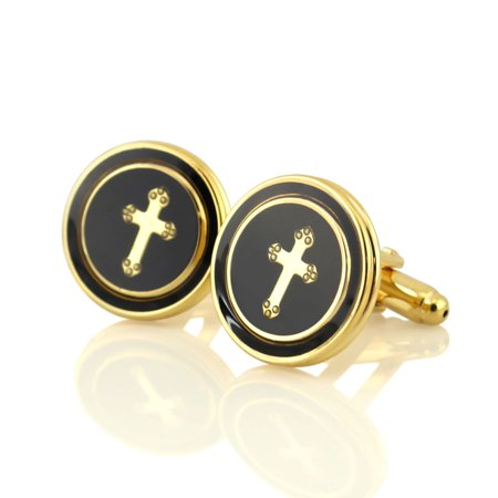 Pretty Men's Dress Black Copper Round With Cross Cufflinks Cuff Links