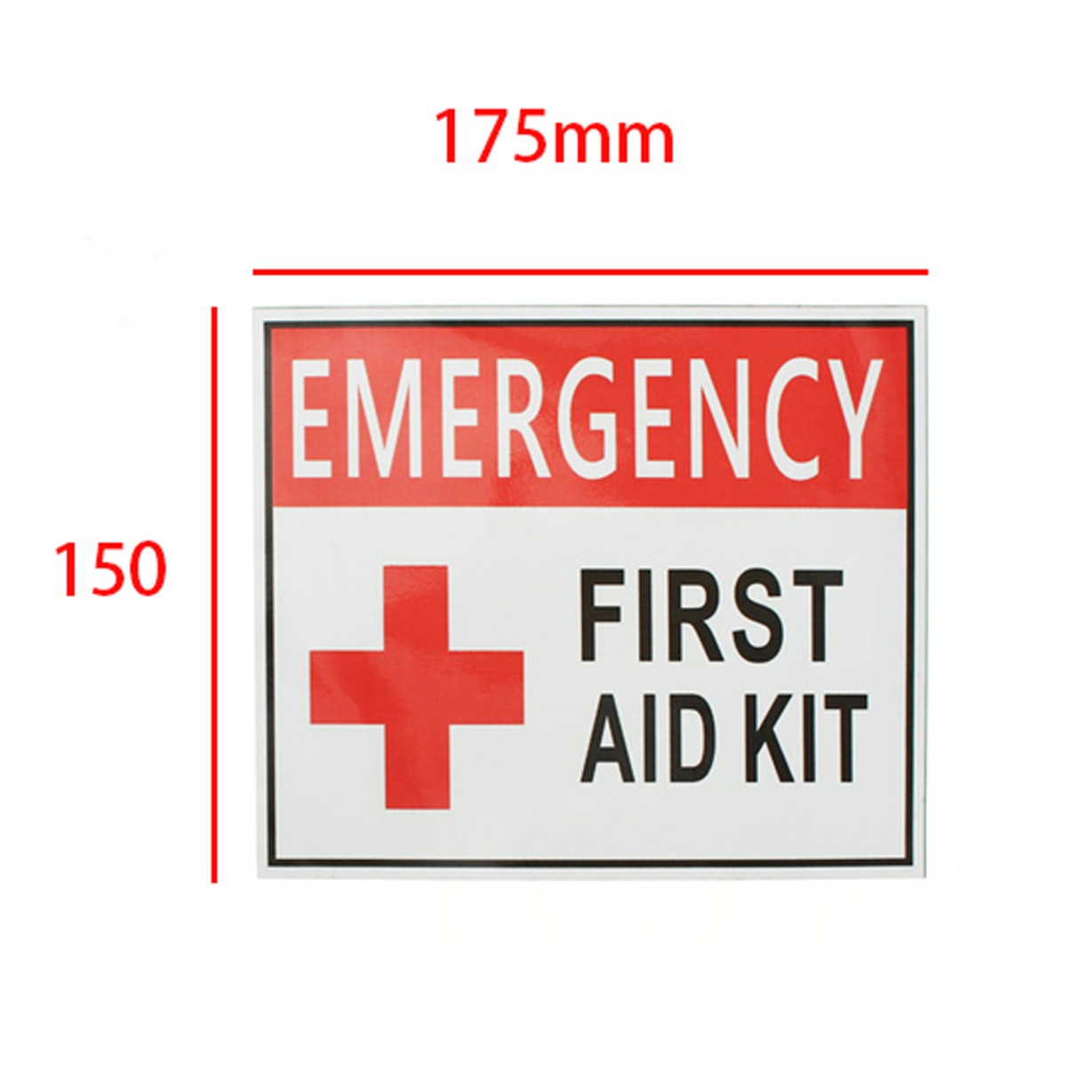 4 Size EMERGENCY FIRST AID KIT Vinyl Sticker Label Signs Red Cross Health Safety Home Living School Outdoor MATCC US,150*175mm color