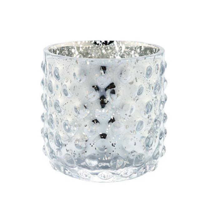 Diamond Star 57008 4 x 4 in. Glass Candle Holder, Silver