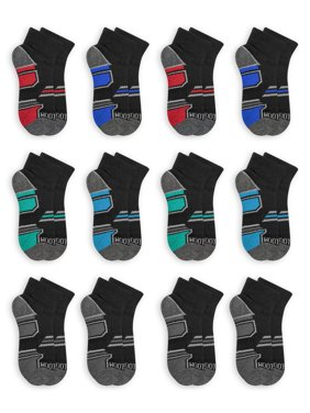 Fruit of the Loom Boys Socks, 12 Pack Ankle Active Everyday Sizes M - L