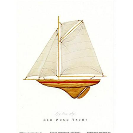 - Red Pond Yacht by Karyn Frances Gray 7x5 (card) Art Print Poster