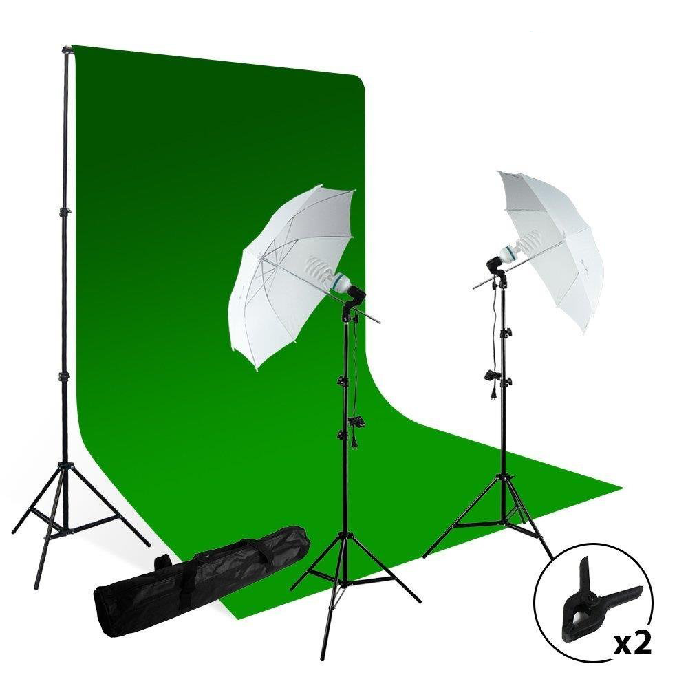 Loadstone Studio Photography Studio Photo Video Continuous Umbrella Light Lighting Kit with Chromakey Green Screen Photo Background Backdrop Support System, WMLS2926