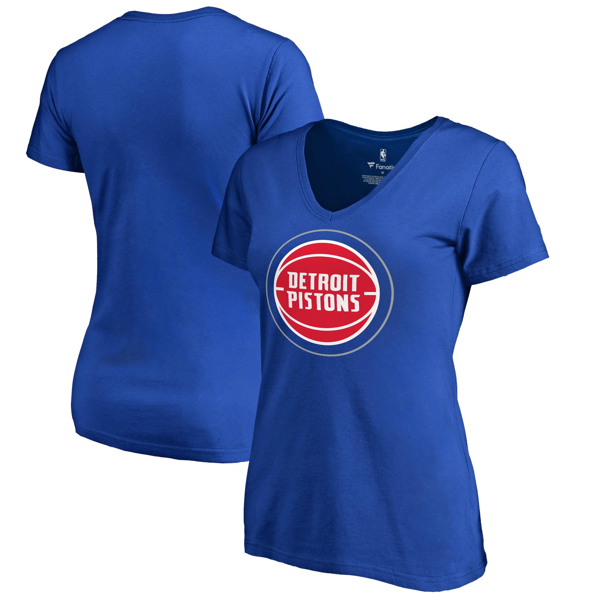 Detroit Pistons Fanatics Branded Women's Primary Logo V-Neck T-Shirt - Blue