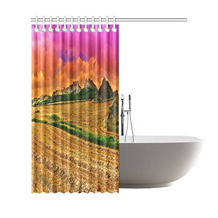 GCKG Mown Wheat Field on the Hills in Sicily at Sunset Shower Curtain, Nature Scenery Polyester Fabric Shower Curtain Bathroom Sets with Hooks 66x72 Inches - image 2 de 3