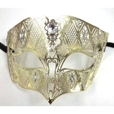 Gold Male Diamond Crystal Laser Cut Venetian Masquerade Metal Filigree Mask Men](Masquerade Masks Male)