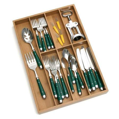 Lipper Bamboo Flatware Organizer with 7 Compartments
