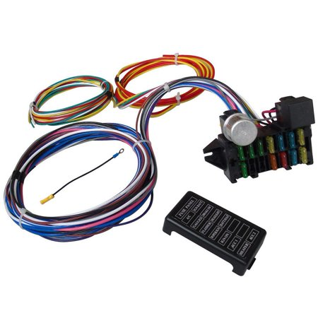WALFRONT 12 Circuit Universal Wiring Harness Muscle Car Hot Rod Street Rod XL Wires,Circuit Wire, Hot Rod Wire