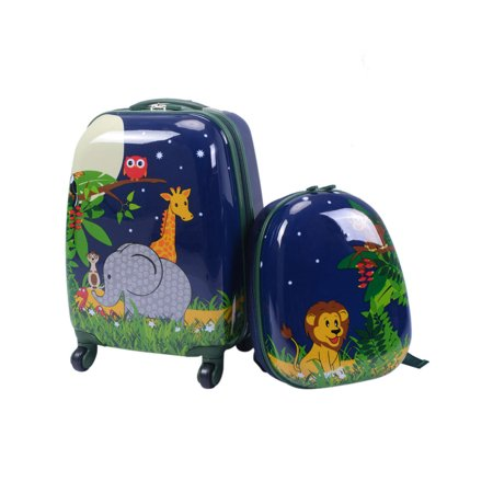 - 2Pc 12'' 16'' Kids Luggage Set Suitcase Backpack School Travel Trolley ABS