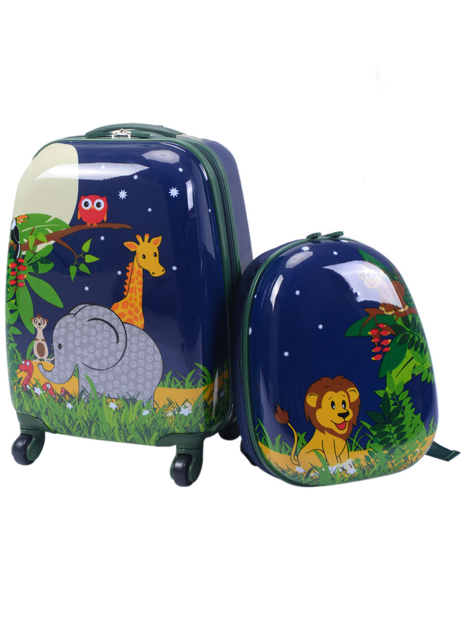 2Pc 12'' 16'' Kids Luggage Set Suitcase Backpack School Travel Trolley ABS