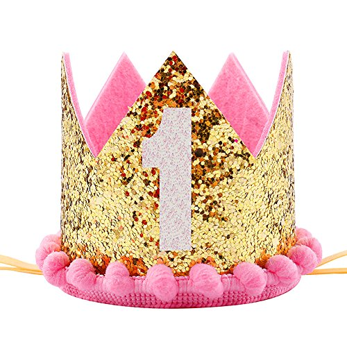 Maticr Sparkled First 1St Birthday Crown Baby Girl Princess Headband Party Suppl