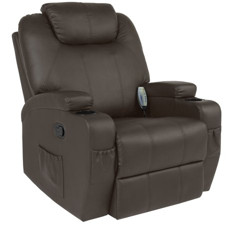 Best Choice Products Faux Leather Executive Swivel Electric Massage Recliner Chair with Remote Control, 5 Heat & Vibration Modes, 2 Cup Holders, 4 Pockets, Brown Black Leather Swivel Recliner