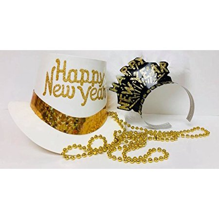 White New Years Eve Hat Tiara Beads Party Package Supplies For 2 (New Year Eve Hats)