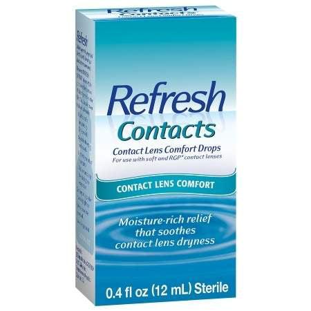 Contacts Actualiser lentilles de contact Confort humidité gouttes pour les yeux secs 0,4 fl oz (pack de 2)
