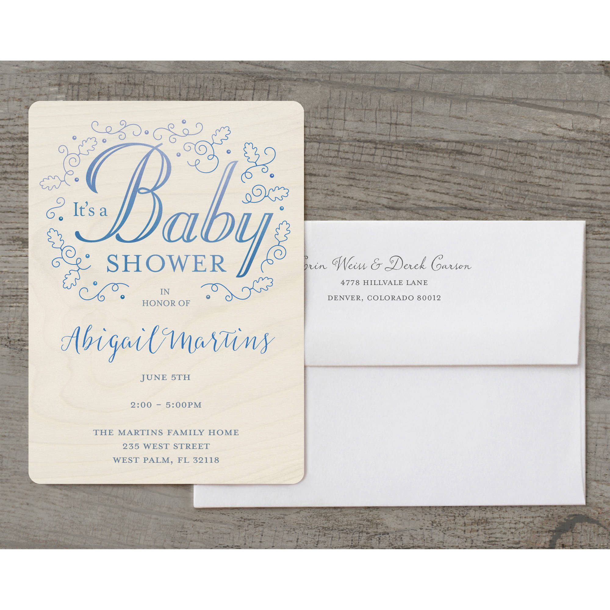 Rustic Filigree Deluxe Baby Invitation