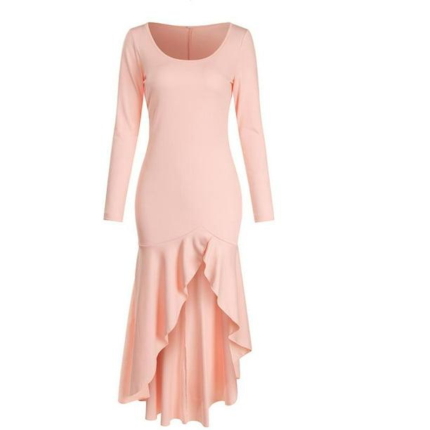 Nokiwiqis Women S Fall Dress Fish Tail Midi Long Sleeve Square Neck Girl Tummy Control Patchwork Pleat Front Split Clothes Walmart Com Walmart Com