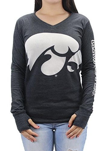 Three Square Women' s NCAA Iowa Hawkeyes V-Neck Long Sleeve T-Shirt Opaque Logo by