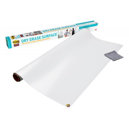 Post-it Super Sticky Dry Erase Surface, Self-Stick Dry Erase Film, White, 6 x 4-Ft, 24 Sq. Ft