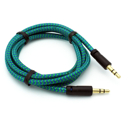 Green Braided Aux Cable Car Stereo Wire Compatible With ZTE Max Duo LTE, Maven 2, Imperial Max, Grand X4 X3, X Max 2 +, Blade Z Max X MAX Spark 3 Force, Axon M 7, Avid 916 828 4 P2D