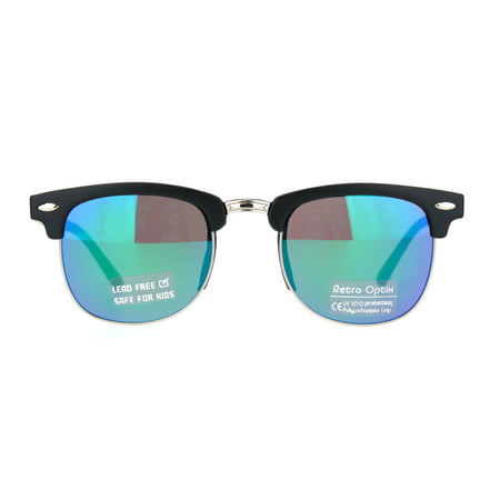Boys Child Size Color Mirror Lens Hipster Half Rim Sunglasses Black Teal Mirror - Sunglasses For Boys