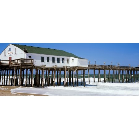 Kitty Hawk Pier On The Beach Kitty Hawk Dare County Outer Banks North Carolina Usa Canvas Art   Panoramic Images  36 X 12