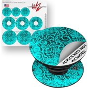 Decal Style Vinyl Skin Wrap 3 Pack for PopSockets Folder Doodles Neon Teal (POPSOCKET NOT INCLUDED) by WraptorSkinz