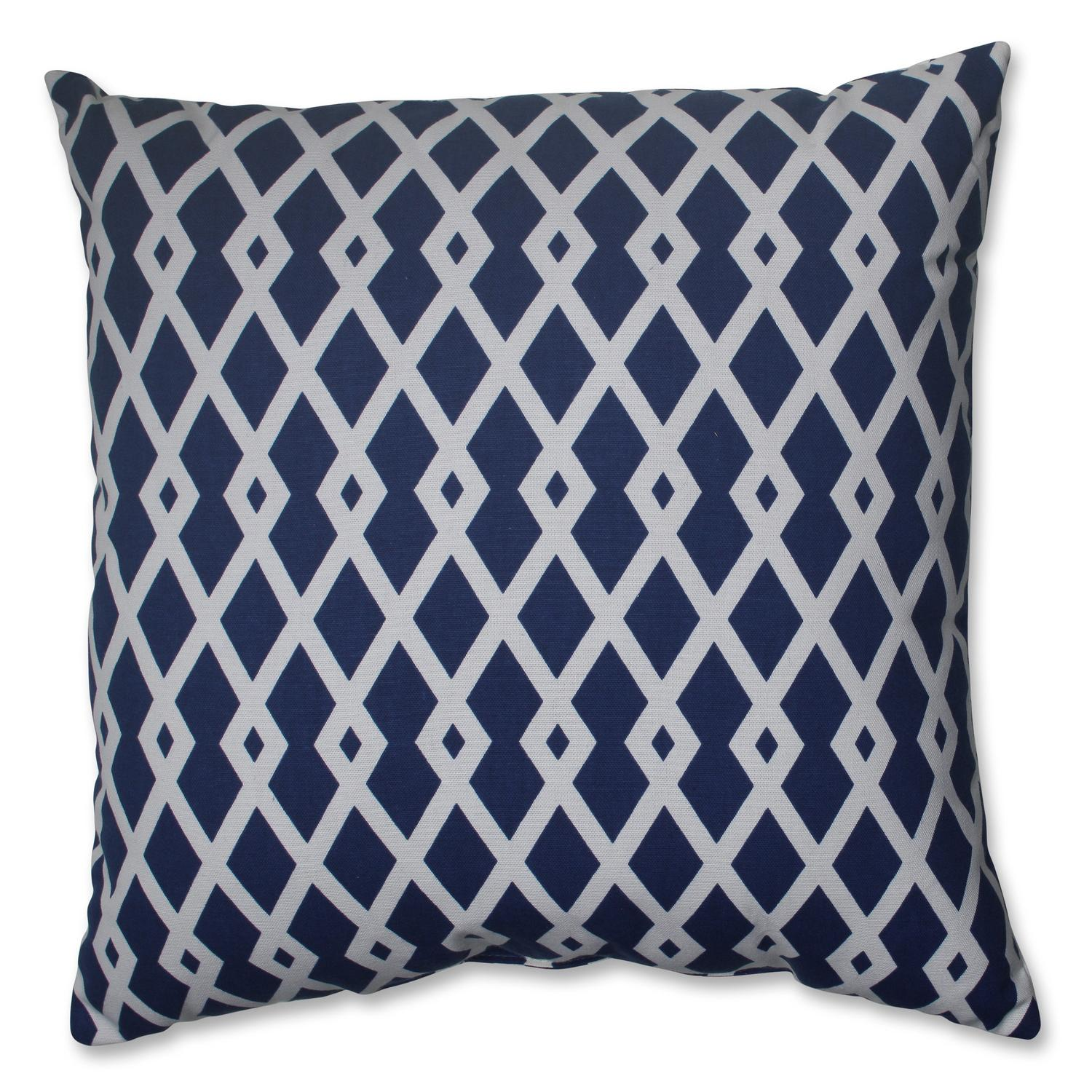 "18"" Cascading Diamonds Navy Blue and White Decorative Throw Pillow"