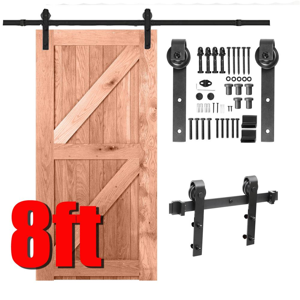 Yaheetech 8Ft Barn Door Sliding Hardware Track Set Kit Closet Indoor Black