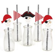 Beware of Pirates Paper Straw Decor Pirate Birthday & Halloween Party Striped Decorative Straws Set of 24 by Big Dot of Happiness, LLC