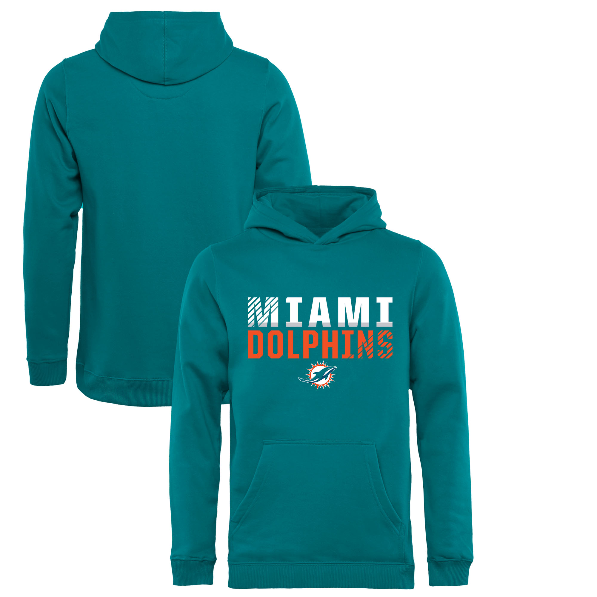 Miami Dolphins NFL Pro Line by Fanatics Branded Youth Iconic Collection Fade Out Pullover Hoodie - Aqua