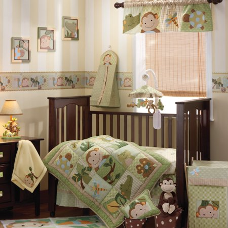 Lambs Ivy Papao 6 Piece Crib Bedding Set Brown Beige Green Animals