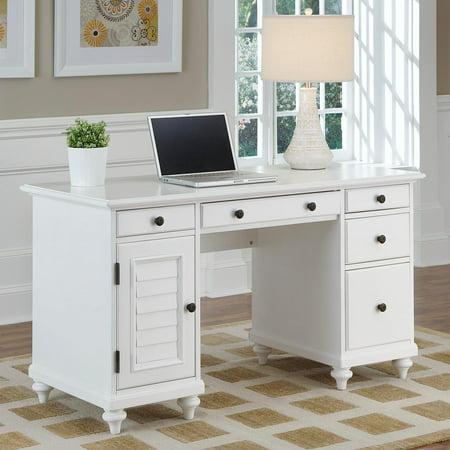 Brushed Nickel Deck - Bermuda Brushed White Pedestal Desk