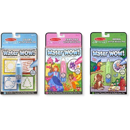 Melissa and Doug On the Go Water Wow! Activity Pads Set, Colors and Shapes, Fairy Tales, Animals - Water Wow Melissa And Doug