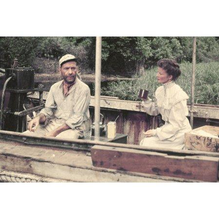 Humphrey Bogart and Katharine Hepburn in The African Queen conversing on boat 24x36 (African Queen Boat)