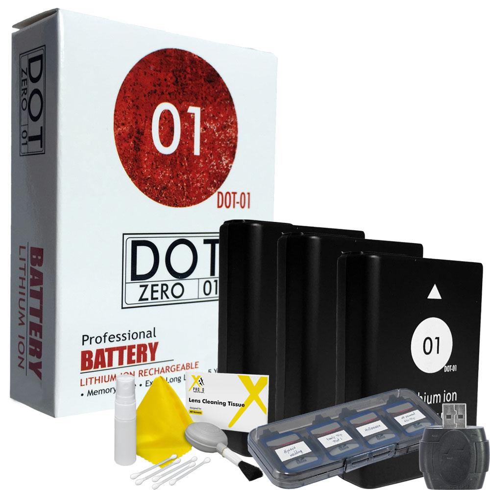 3x DOT-01 Brand 1650 mAh Replacement Nikon EN-EL14A / EN-EL14 Batteries for Nikon D3100 Digital SLR Camera and Nikon ENEL14A Accessory Bundle