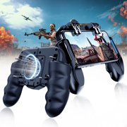 Mobile Game Controller with Cooling Fan&4 Triggers Phone Controller Gamepad Compatiple for PUBG/Fotnite [6 Finger Operation],Grip Gamepad Joystick Remote Shoot Aim Key for iOS Android Phone
