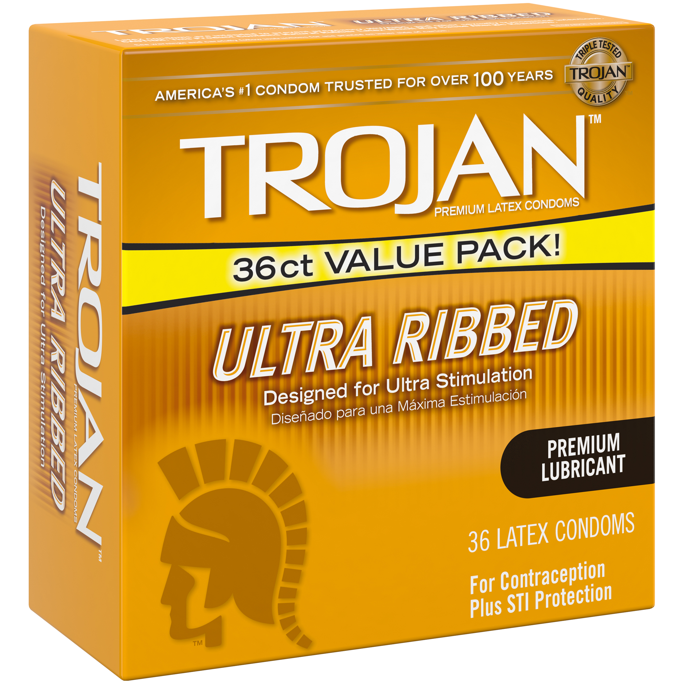 Trojan Ultra Ribbed Premium Lubricant Condoms Value Pack, 36 count