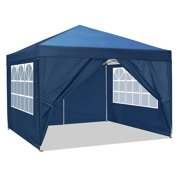 9.8x9.8Ft Canopy Tent with Window Sidewalls Party Tent-Series,Gazebo Tent with Mosquito Netting Outdoor Instant Gazebo Canopy Shelter,White, Blue,Khaki