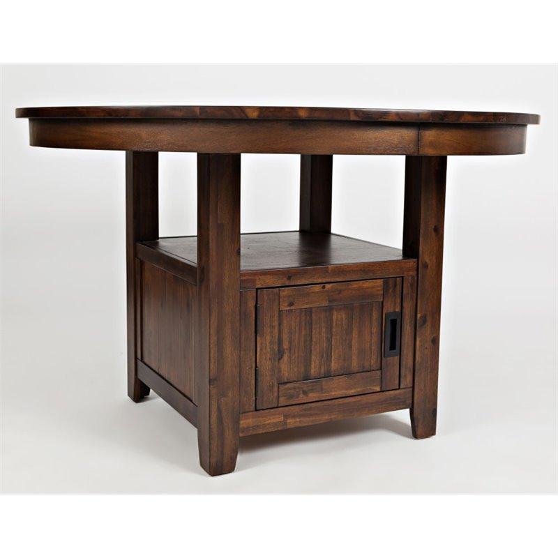 Jofran Coolidge Corner Round Adjustable Dining Table in Warm Brown