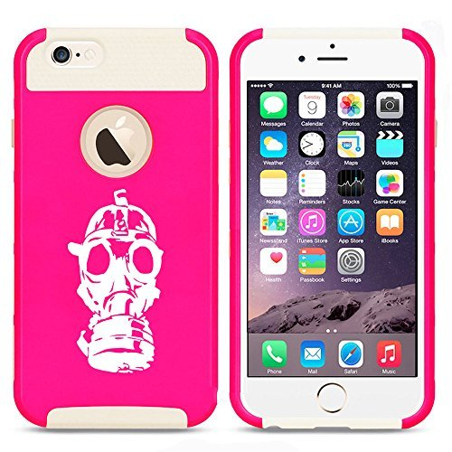 Apple iPhone (6 Plus   6s Plus) Shockproof Impact Hard Case Cover Gas Mask Zombie (Hot Pink-White ) by