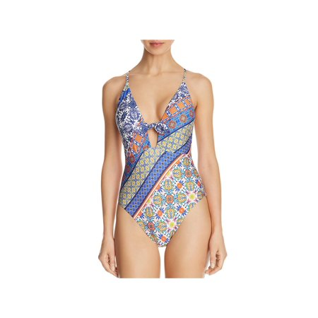 Nanette Lepore Womens Patchwork Goddess Printed Tie-Front One-Piece Swimsuit