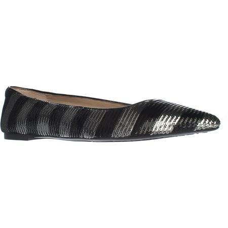 Womens MICHAEL Michael Kors Arianna Pointed-Toe Flats - Black/Silver (Michael Kors Charm Flats)