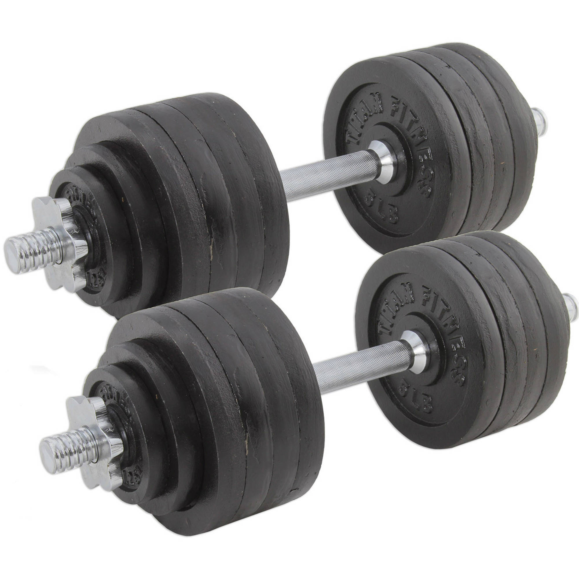 Pair of Adjustable Cast Iron Dumbbells Weight 105 lb Total