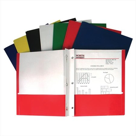 Cline Deluxe Vinyl Project Folders - C-Line Products 05320BNDL100EA Recycled Two-Pocket Paper Portfolios with Prongs  Assorted - Set of 100 Folders