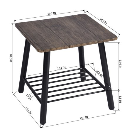 Furniture R Coffee Table Sofa Side End Table Metal Shelf Storage for Living Room Bedroom - image 1 of 7