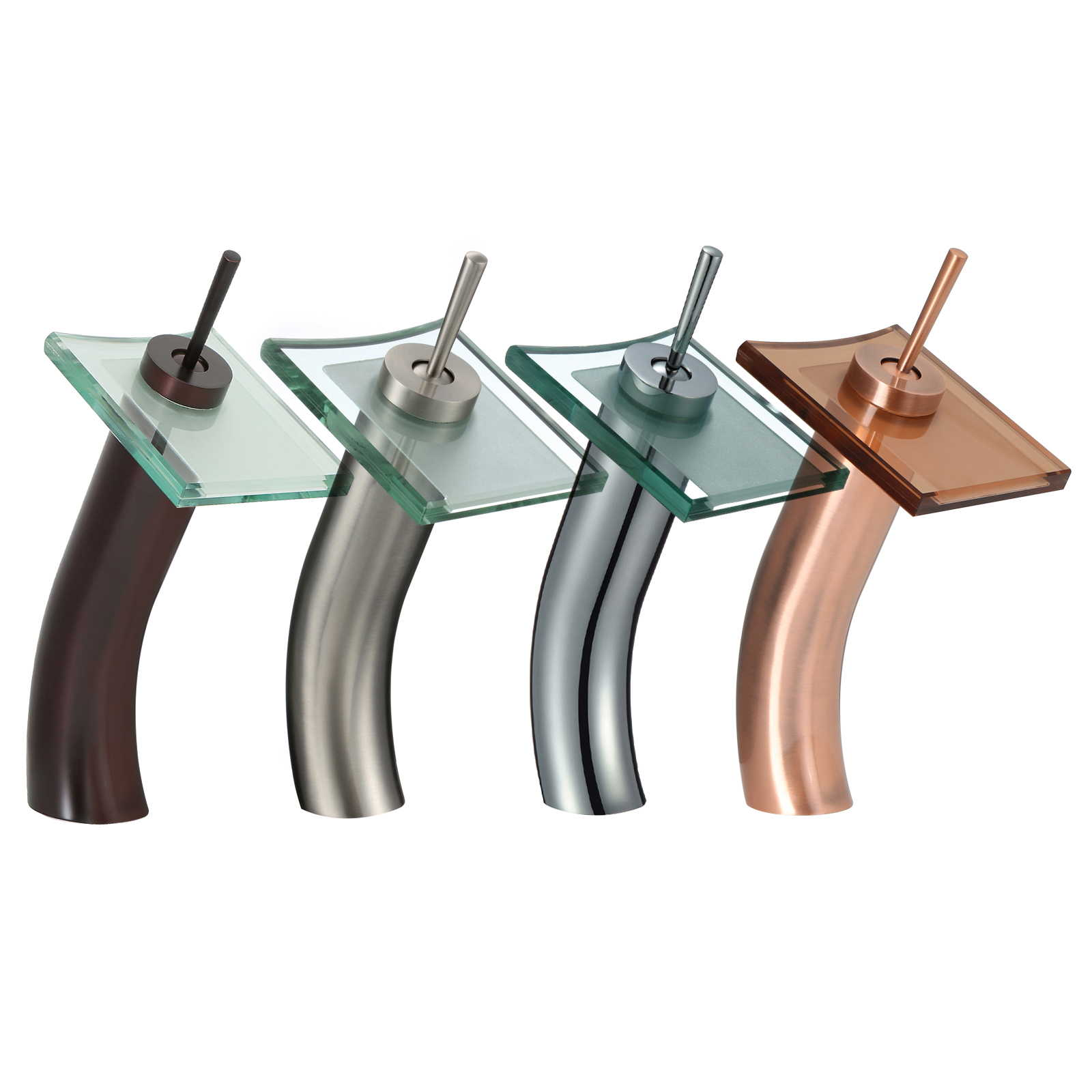 FREUER Vetro Collection: Glass Waterfall Bathroom Sink Faucet - Multiple Finishes Available