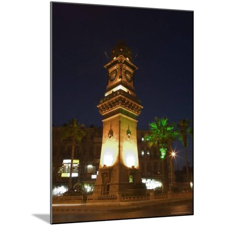 Clock Tower, Downtown at Night, Aleppo (Haleb), Syria, Middle East Wood Mounted Print Wall Art By Christian - Downtown East Halloween Night