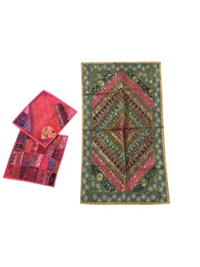 Mogul Bohemian Banjara Tapestry With Two Cushion Cover Sequin Beaded Embroidered Patchwork Wall Hanging Table Throw Wall Art