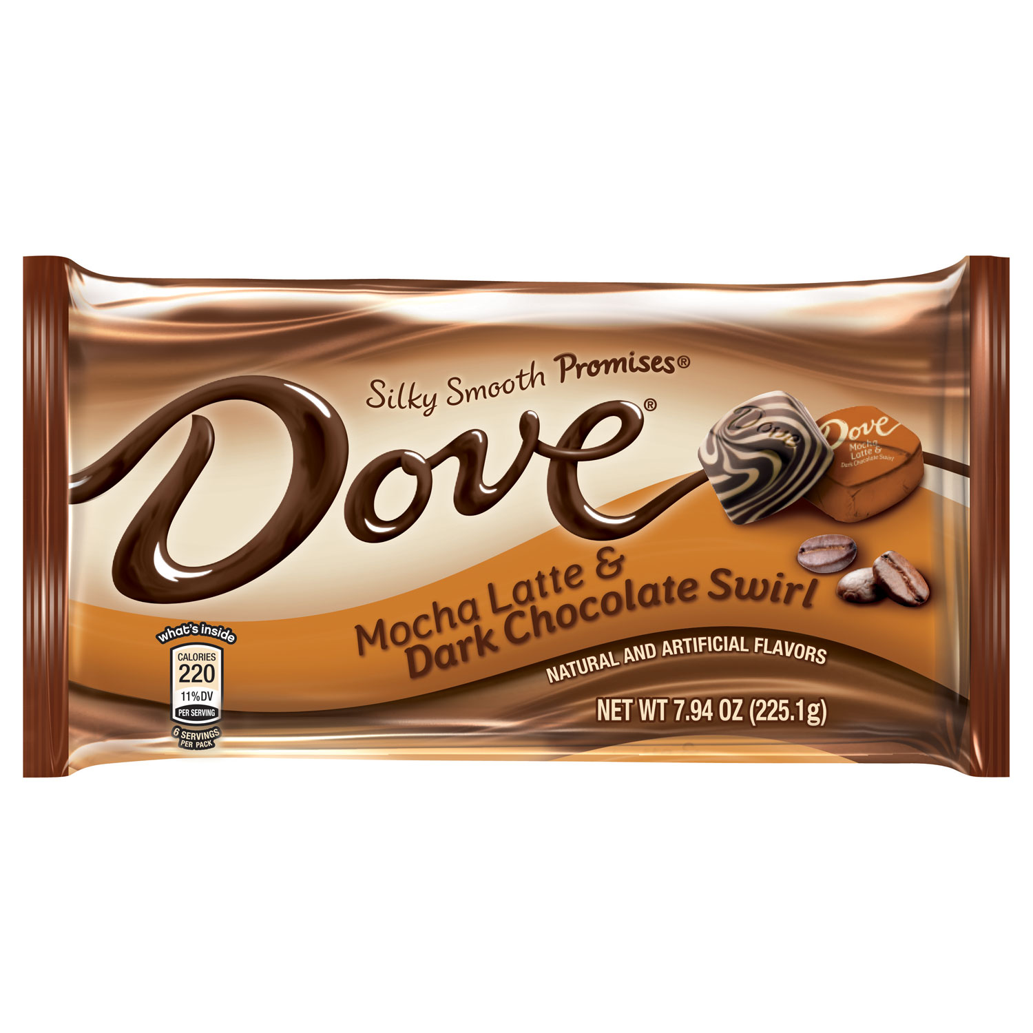 DOVE PROMISES Mocha Latte and Dark Chocolate Swirl Candy Bag, 7.94 oz