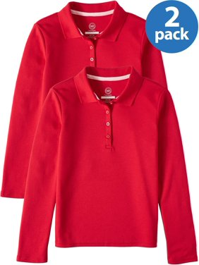 Wonder Nation Girls 4-18 School Uniform Long Sleeve Interlock Polo Shirt, 2-Pack Value Bundle