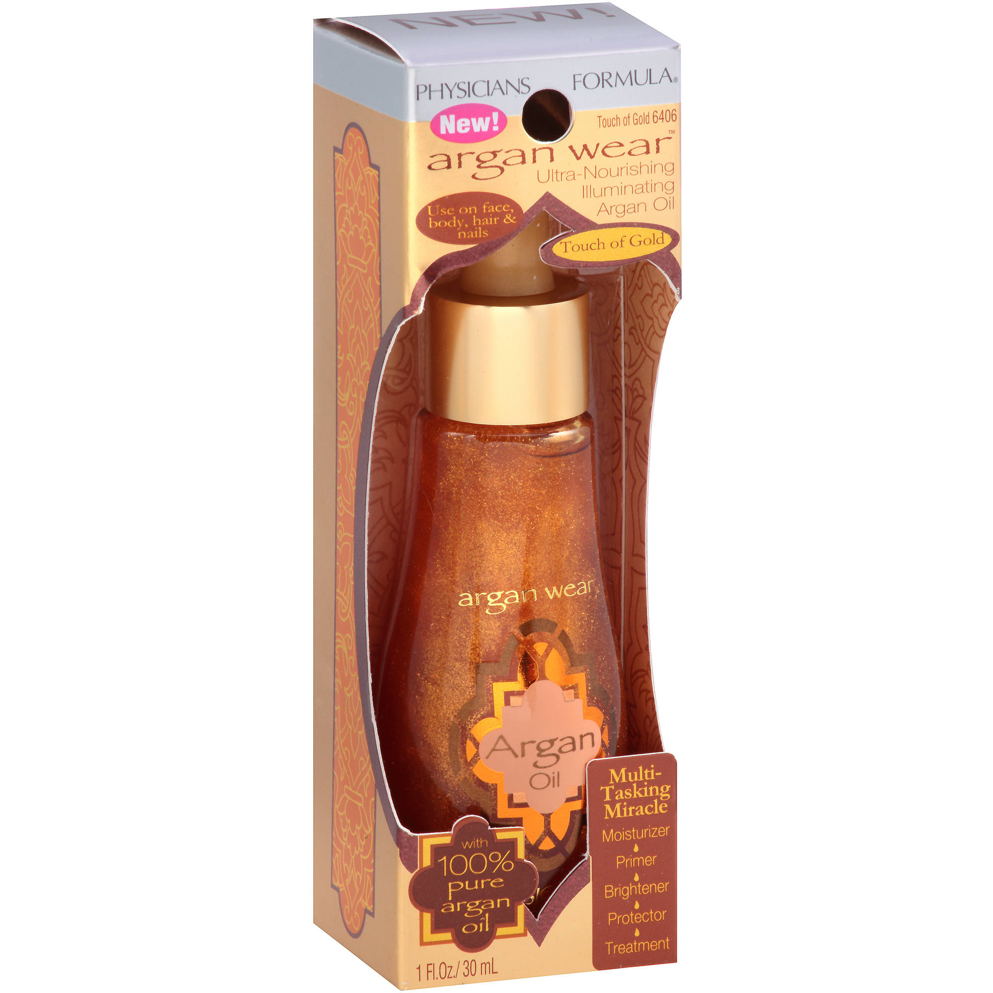 Physicians Formula Argan Wear Ultra-Nourishing Illuminating Argan Oil, 6406 Touch of Gold, 1 fl oz